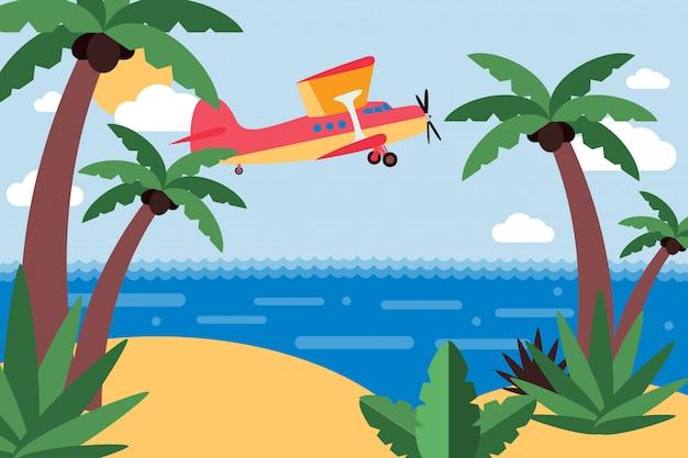 Vliegtuigvlieg naar tropisch eiland, reis over oceaan vastgestelde illustratie. privévervoer vliegende cartoon, zanderig eiland Premium Vector