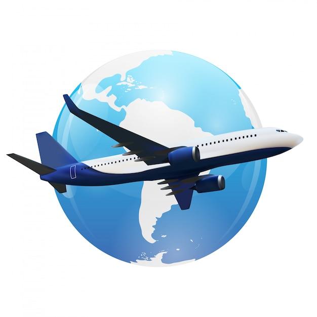 Vliegtuigvlucht boven wereldkaart. Premium Vector