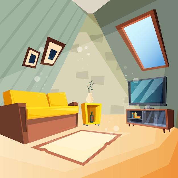 Vliering. slaapkamer voor kinderen interieur van zolder kamer hoek met raam op plafond foto in cartoon stijl Premium Vector