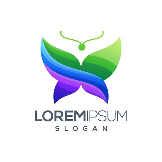 Vlinder kleurrijk verloop logo ontwerp Premium Vector