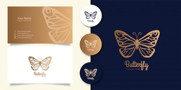 Vlinder logo ontwerp met visitekaartje Premium Vector