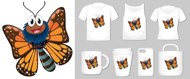 Vlinder op verschillende soorten productsjabloon Gratis Vector