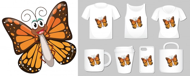 Vlinder over verschillende soorten merchandising Gratis Vector