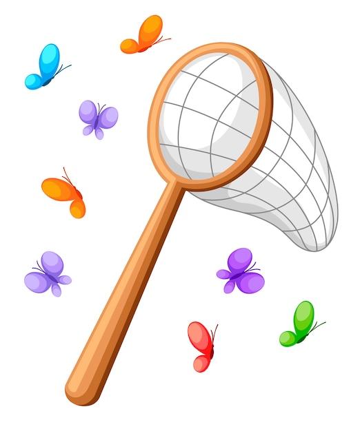 Vlindernet en kleurrijke vlinders. klassiek net, houten handvat. illustratie op witte achtergrond. Premium Vector