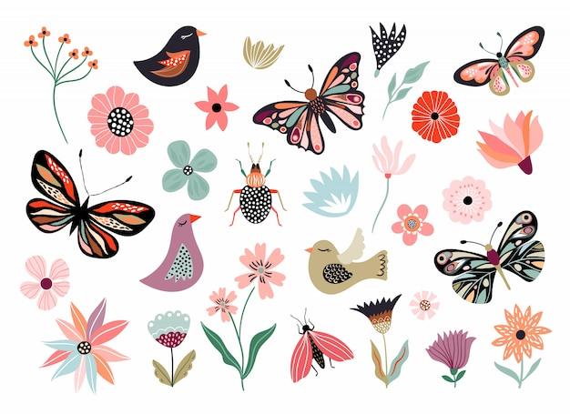 Vlinders, bloemen en vogels hand getekende collectie van verschillende elementen, geïsoleerd op wit Premium Vector