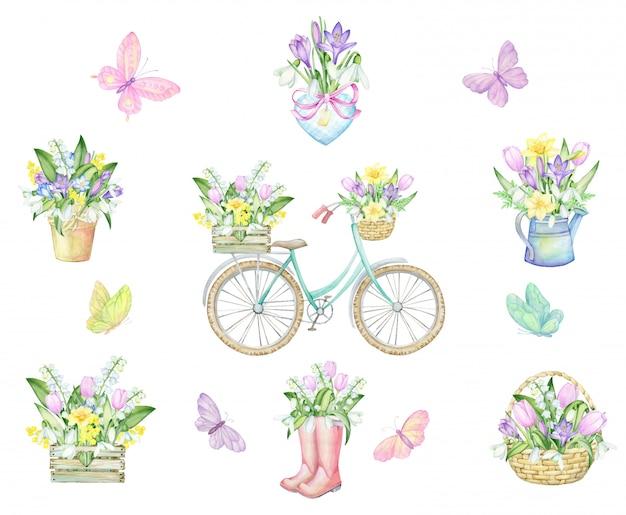 Vlinders, fiets, plantenbakken, hart, rubberen laarzen, karzinka, houten kist, gieter, boeketten bloemen. aquarel set. tekening, op een lentethema. Premium Vector