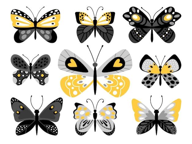 Vlinders kleurenset illustraties. tropische insecten met gele versieringen op vleugels geïsoleerde bundel op witte achtergrond. Premium Vector