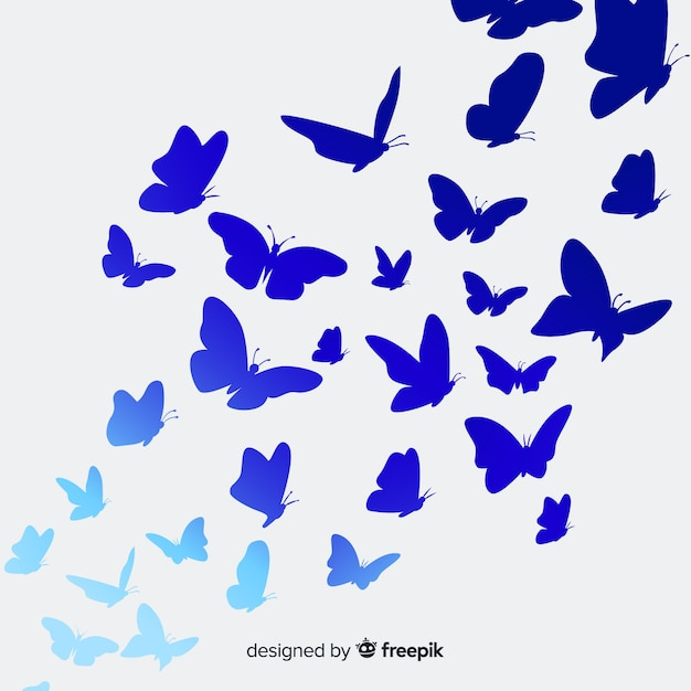 Vlinders silhouetten achtergrond Gratis Vector