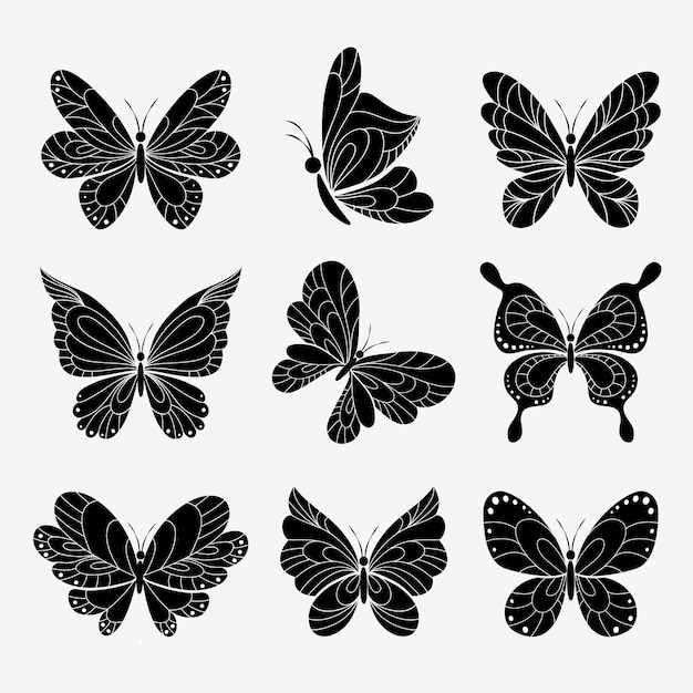 Vlinders silhouetten ingesteld op wit Gratis Vector