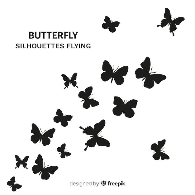 Vlinders vliegen achtergrond Gratis Vector