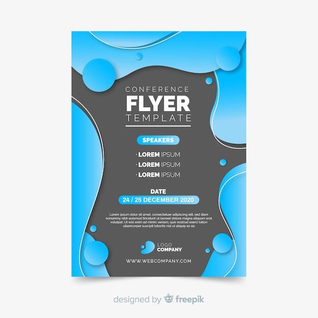 Vloeibaar effect van platte conferentie flyer sjabloon Gratis Vector