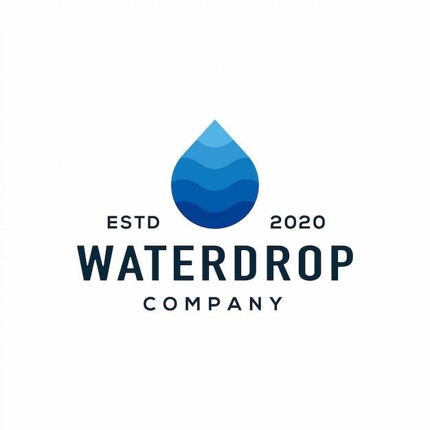 Vloeibaar waterdruppel logo en pictogram. Premium Vector