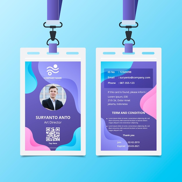 Vloeibare achtergrond voor- en achterkant id-kaartsjabloon Gratis Vector