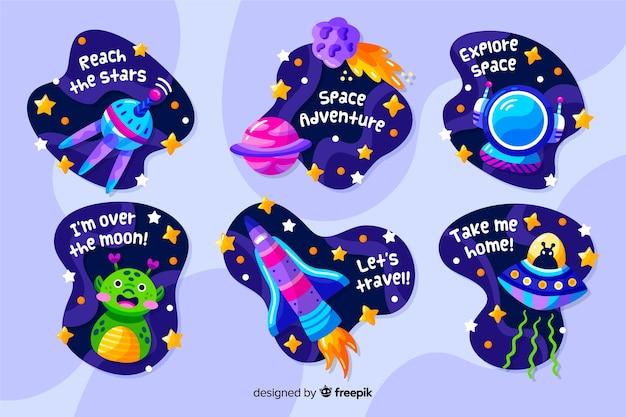 Vloeibare design ruimte stickercollectie Gratis Vector