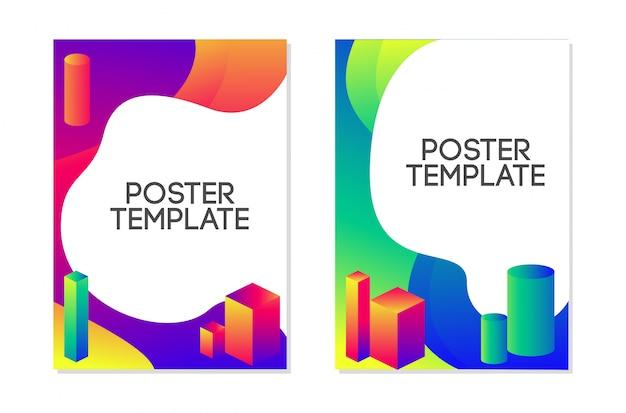 Vloeibare poster sjabloon ontwerpset. vloeibare trendy stijl Premium Vector