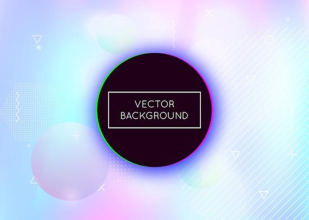 Vloeibare vormen achtergrond met dynamische vloeistof. holografisch bauhaus-verloop met memphis-elementen. Premium Vector