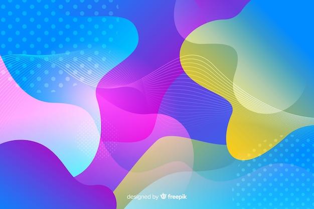 Vloeibare vormen en memphis effect achtergrond Gratis Vector