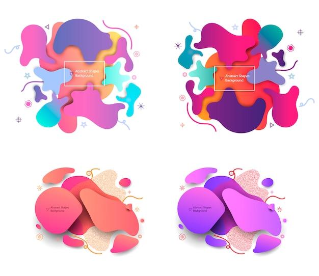 Vloeibare vormen van de raadselstijl abstracte achtergrond. Premium Vector
