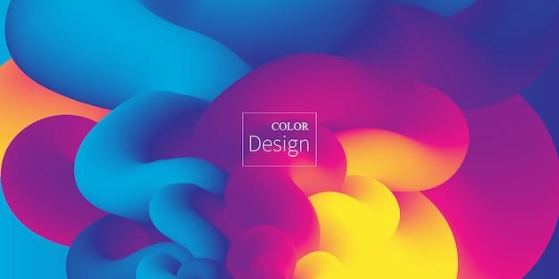 Vloeiende kleuren. vloeibare vorm. inkt splash. kleurrijke cloud. stroomgolf. moderne poster. kleur achtergrond. . Premium Vector
