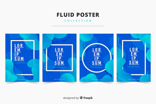 Vloeiende posterverzameling Gratis Vector