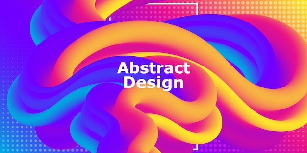 Vloeiende vorm. abstracte stroom. trendy poster. kleurrijk futuristisch verloop. geometrische achtergrond. vloeiende banner. Premium Vector