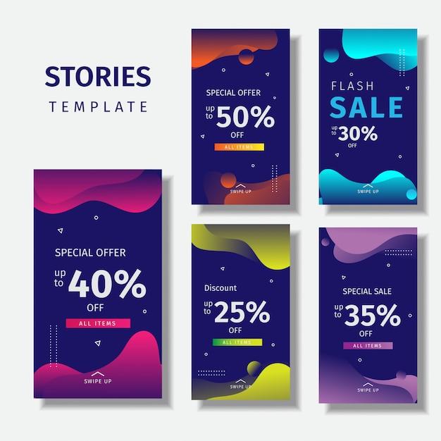 Vloeistof kleurrijke instagram verhalen sjabloon Premium Vector