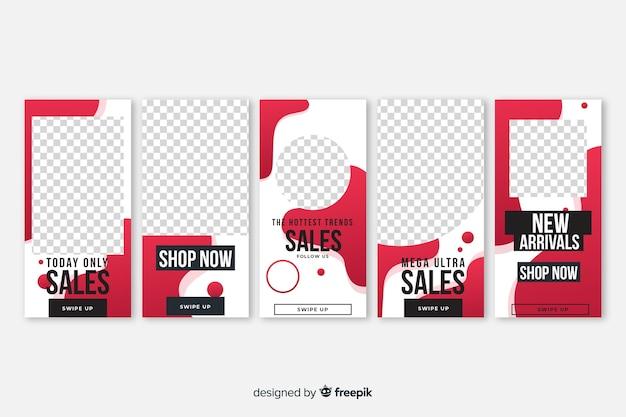 Vloeistof vormen te koop instagram verhalen sjabloon pack Gratis Vector