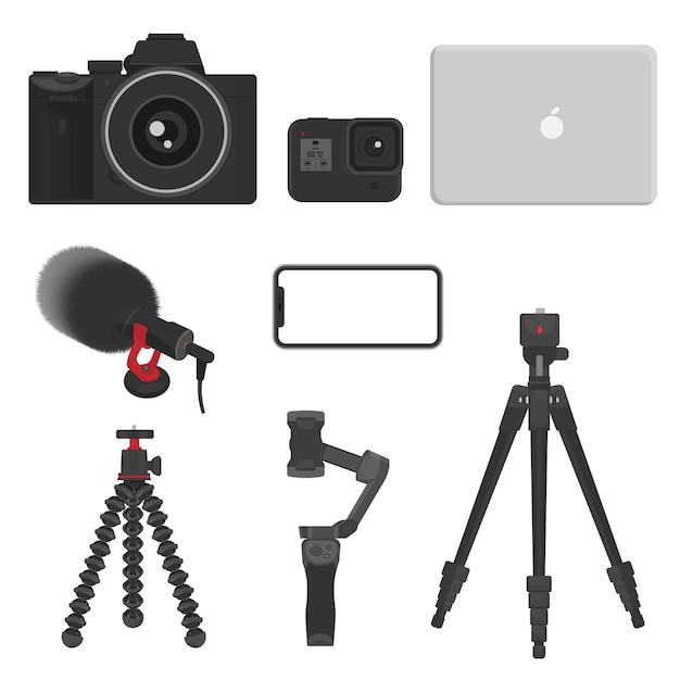 Vlog-apparatuur, camera, actiecamera, laptop, microfoon, statief, stabilisator voor videomaker en videomaker Premium Vector