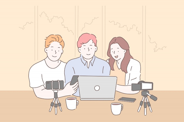 Vloggen, live streaming vanaf laptopconcept Premium Vector