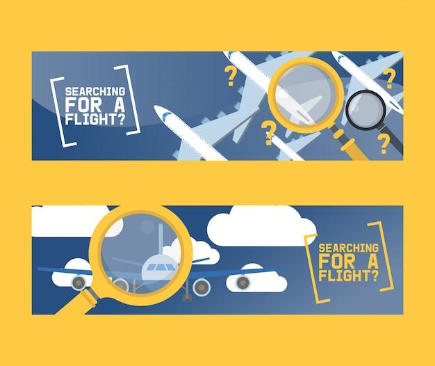 Vlucht zoeken en vliegtuig tickets service concept set van banners vector illustratie. Premium Vector