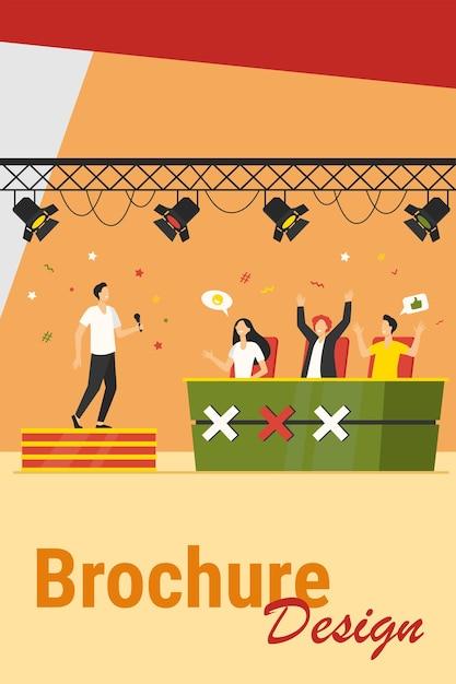 Vocaal wedstrijdevenement. performer zingt op het podium voor juryberoemdheden. vectorillustratie voor tv-talentenjacht, televisie, wedstrijdconcepten Gratis Vector