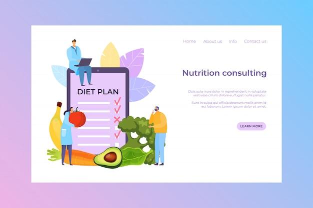 Voeding consulting, dieet plan illustratie. dokter mensen stripfiguur raadplegen patiënt over verse maaltijd, banner Premium Vector