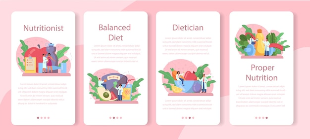 Voedingsdeskundige mobiele applicatie banner set. dieetplan met gezonde voeding en lichamelijke activiteit. caloriecontrole en dieetconcept. Premium Vector