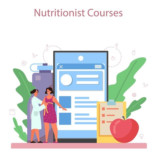 Voedingsdeskundige online service of platform. dieetplan met gezonde voeding en lichamelijke activiteit. voedingsdeskundige blog. Premium Vector