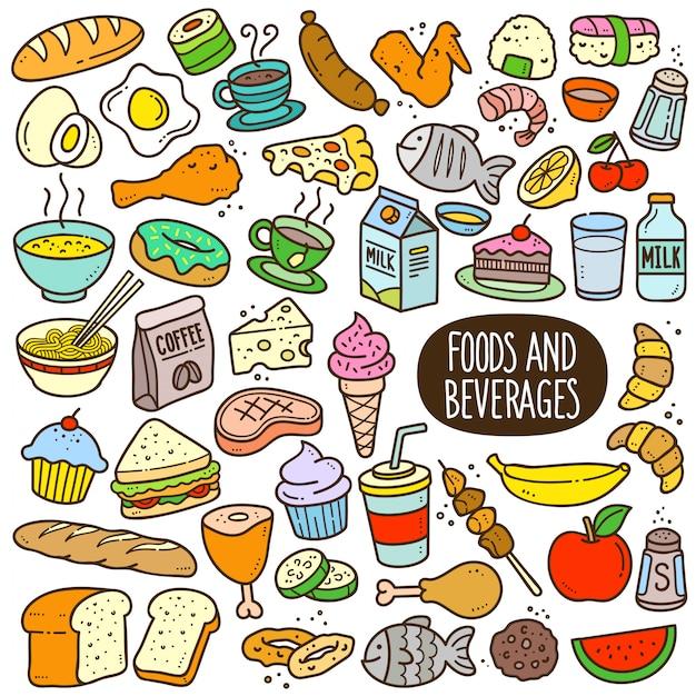 Voedingsmiddelen en dranken cartoon kleur afbeelding Premium Vector