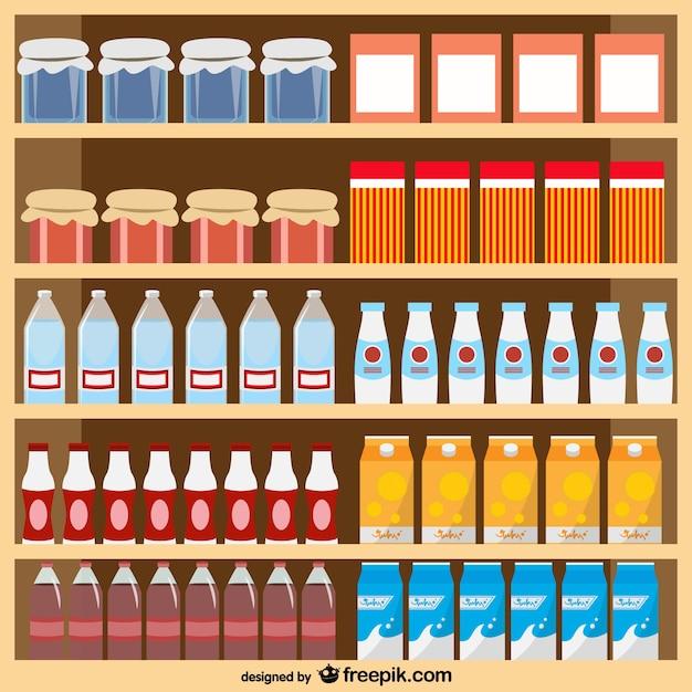 Voedingsmiddelen supermarkt vector Gratis Vector