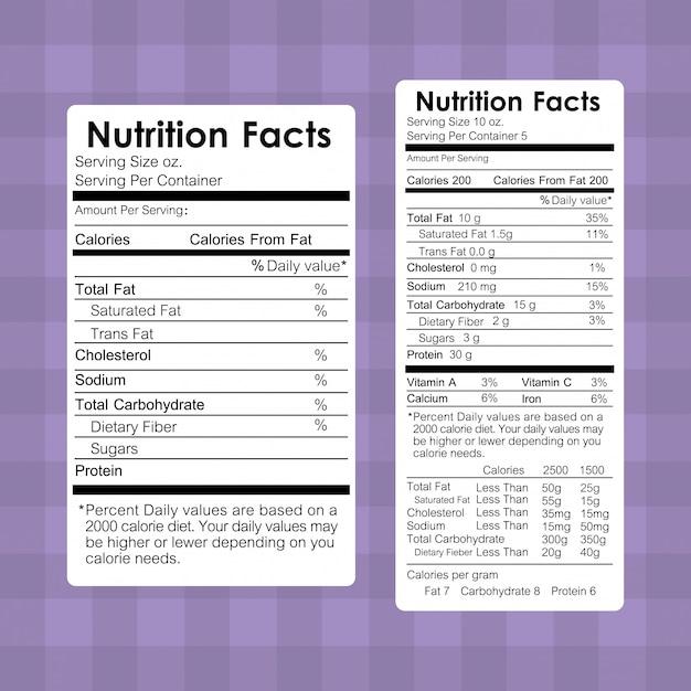 Voedingswaarden informatie over voedseletiketten Gratis Vector