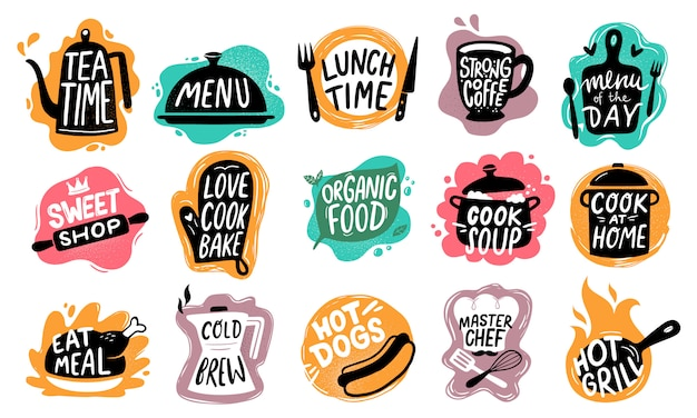 Voedsel belettering. bakkerij keuken snoepjes, hotdogs badge en biologisch voedsel logo set Premium Vector