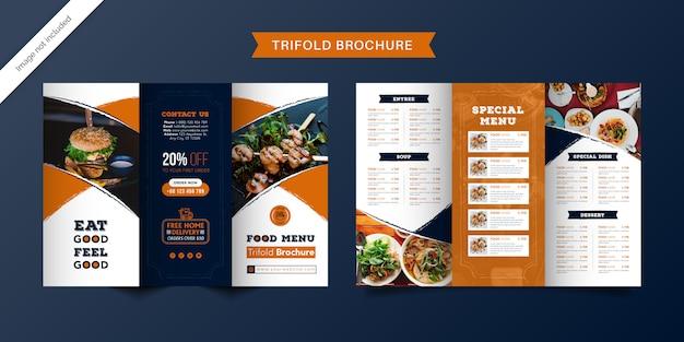 Voedsel driebladige brochuremalplaatje. fast food menubrochure voor restaurant met oranje en donkerblauwe kleur. Premium Vector