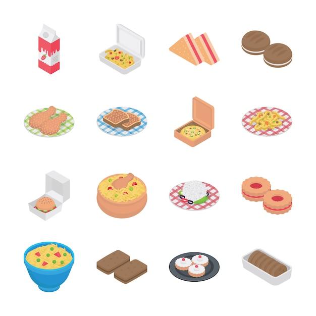 Voedsel en bakkerij pictogrammen Premium Vector