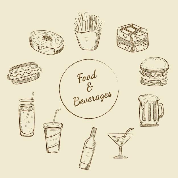 Voedsel en dranken ontwerpen Gratis Vector