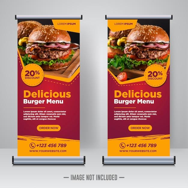 Voedsel en restaurant oprollen of x banner ontwerpsjabloon Premium Vector