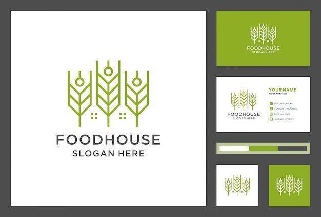 Voedsel huis logo ontwerp met visitekaartje Premium Vector
