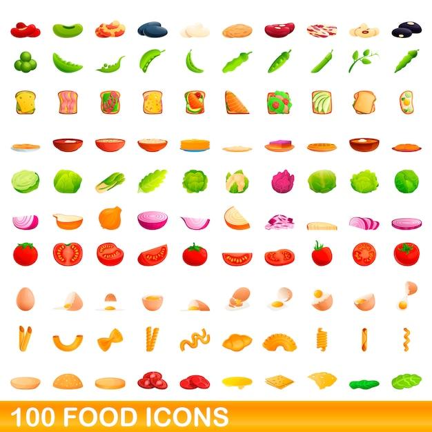 Voedsel iconen set, cartoon stijl Premium Vector