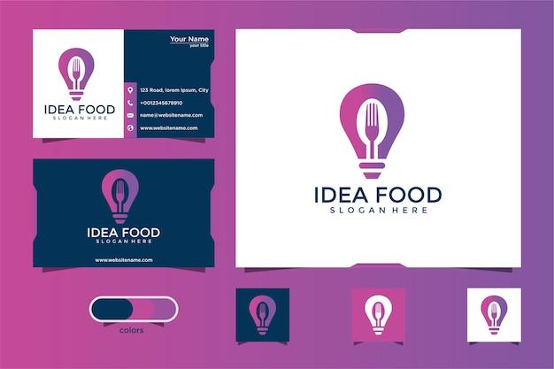 Voedsel idee logo ontwerp en visitekaartje Premium Vector