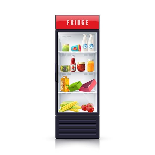 Voedsel in koelkast realistische illustratie pictogram Gratis Vector
