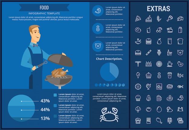 Voedsel infographic sjabloon, elementen en pictogrammen Premium Vector