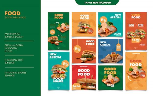 Voedsel instagram verhalen feed post sjabloon Premium Vector