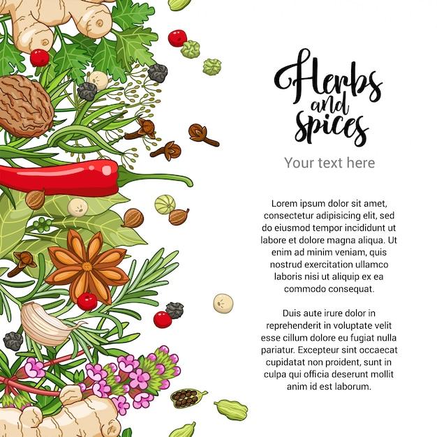 Voedsel kaart ontwerp met specerijen en kruiden Premium Vector