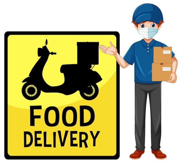Voedsel levering bord met bezorger met masker Gratis Vector